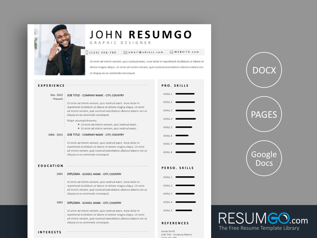TELAMON - Free Simple Resume Template - ResumGO