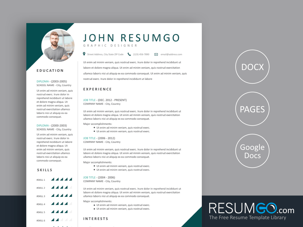 TERIS - Free Two Corner Style Resume Template - ResumGO