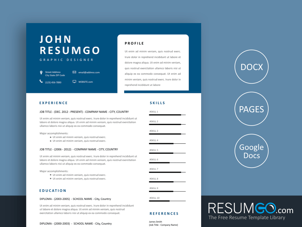 THANOS - Free Modern Resume Template with Unique Blue Header - ResumGO