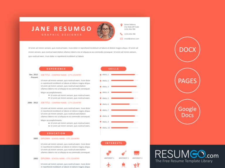 THECLA - Free Feminine Resume Template with Pink Ribbons - ResumGO