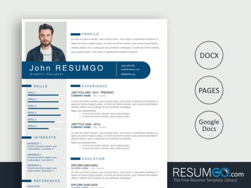 THERON - Free Blue Gray Modern Resume Template - ResumGO