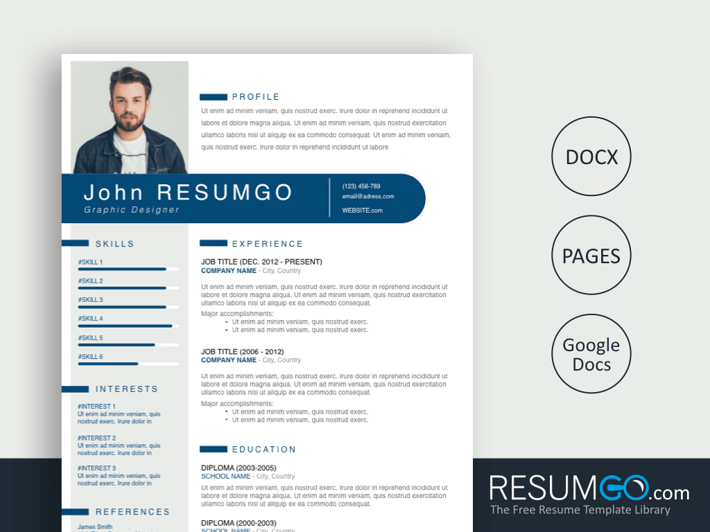 THERON - Free Blue Gray Modern Resume Template - ResumGO