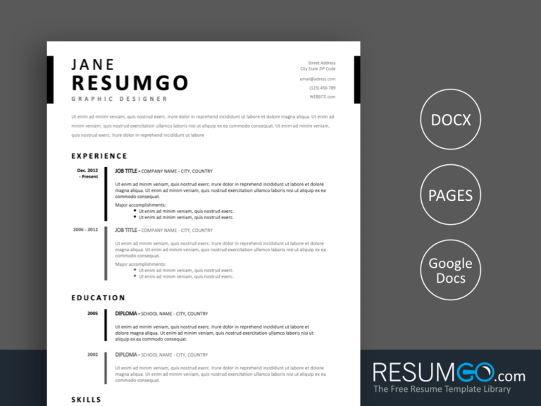 TIMO - Free Simple Stylish Resume Template - ResumGO