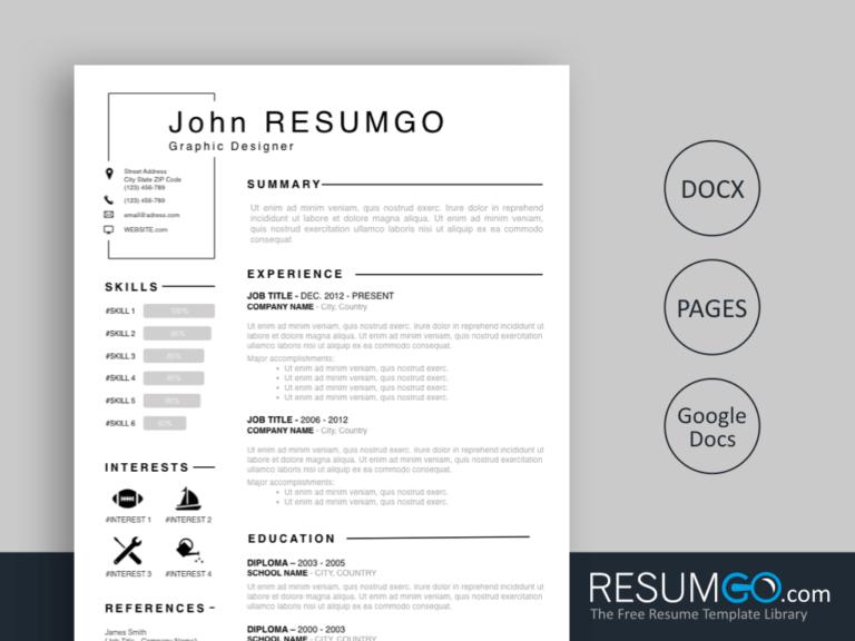 TITOS - Free Classic Framed Resume Template - ResumGO