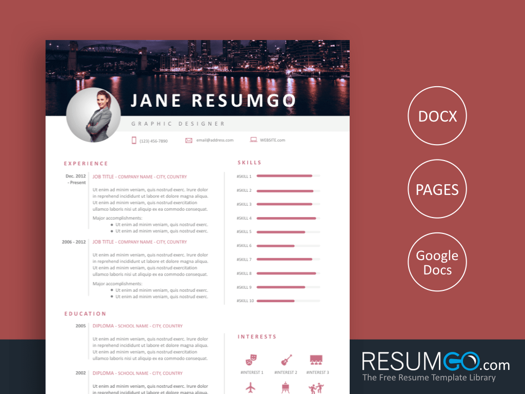 TRYPHOSA - Free City Night Resume Template - ResumGO
