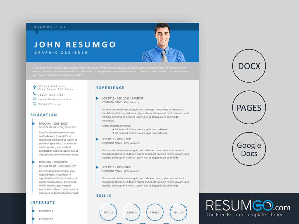 URIAS - Free 3 Levels Blue Banner Resume Template - ResumGO