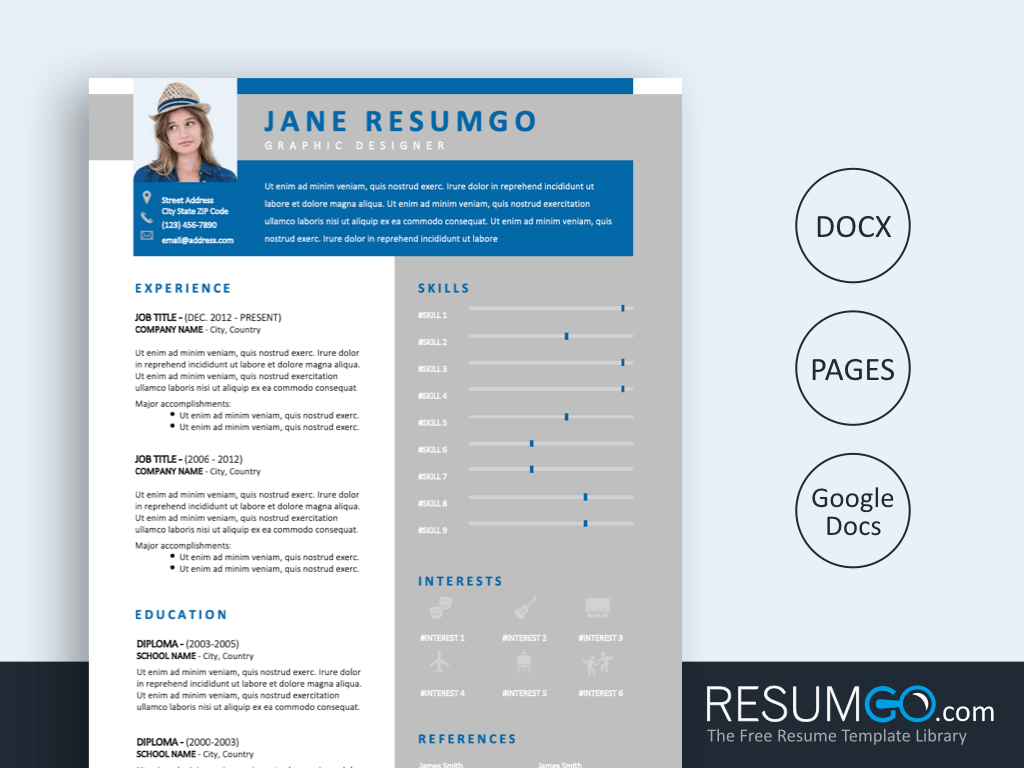 USIRIS - Free Blue Gray and Modern Resume Template - ResumGO
