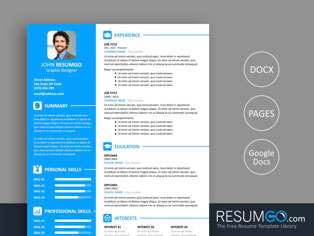 VASILIS - Free Modern Sky Blue Resume Template - ResumGO