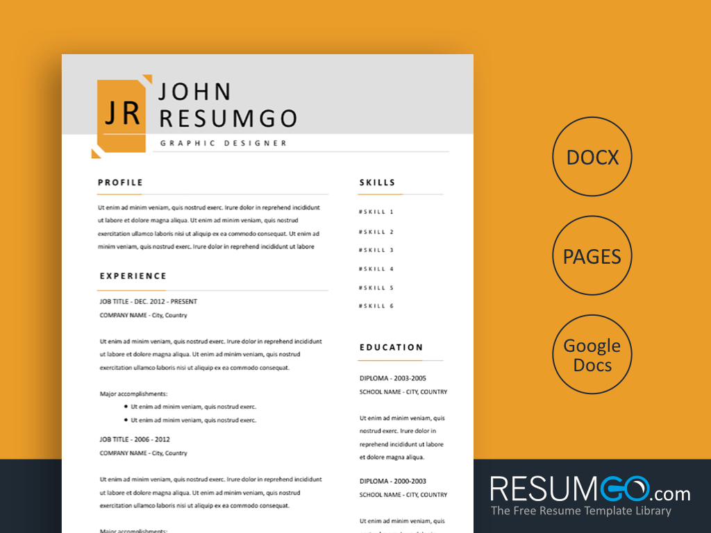 XERXES - Free modern and simple Resume Template - ResumGO