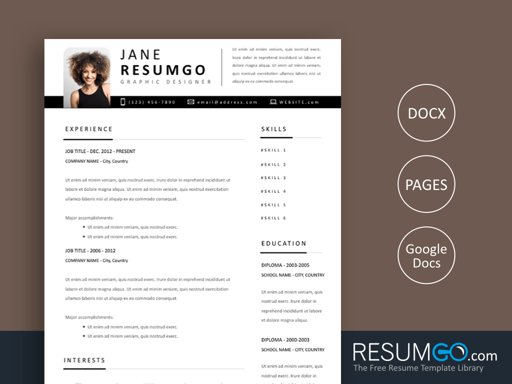 YORGOS - Free Yet Another Modern Resume Template with Black Ribbon - ResumGO