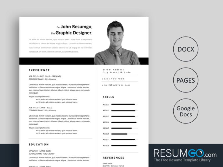 ZOE - Free Easy to Print Resume Template - ResumGO