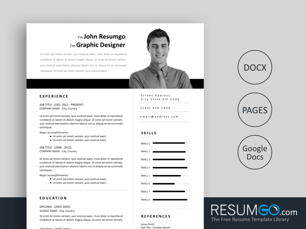 ZOE - Free Easy to Print Resume Template - ResumGO