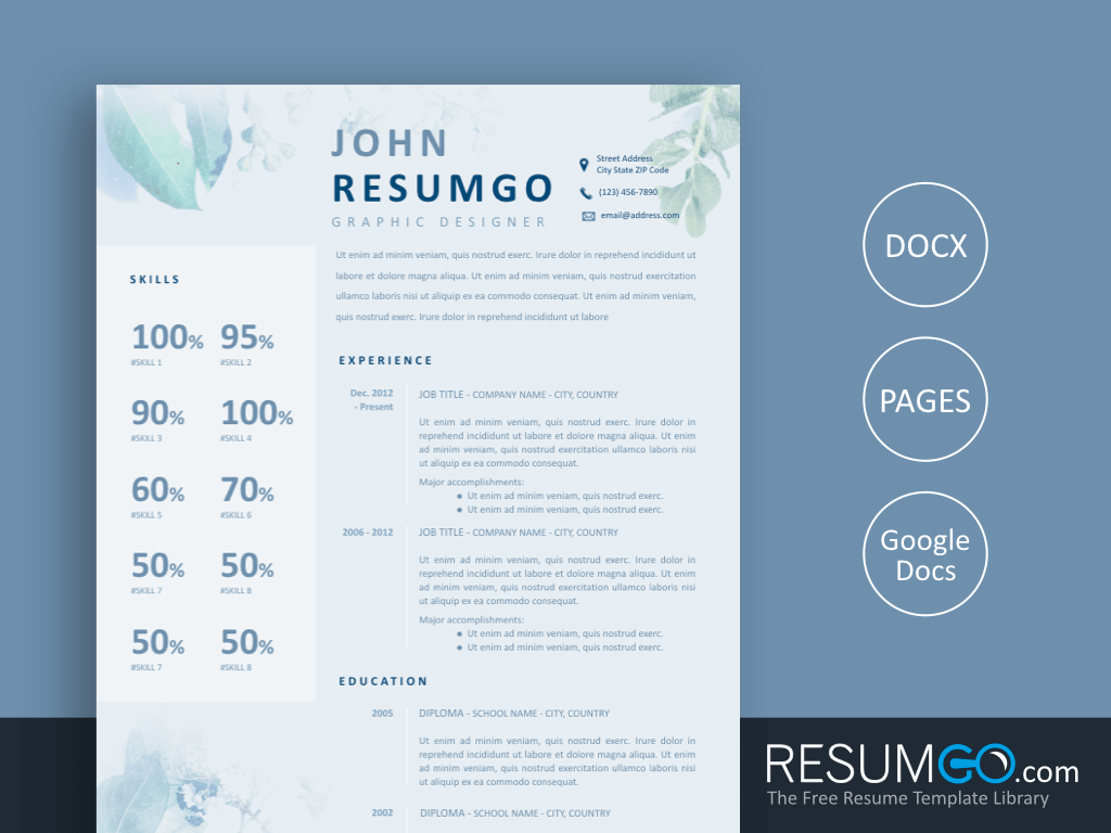 ZONA - Free Blue Flowers Resume Template - ResumGO