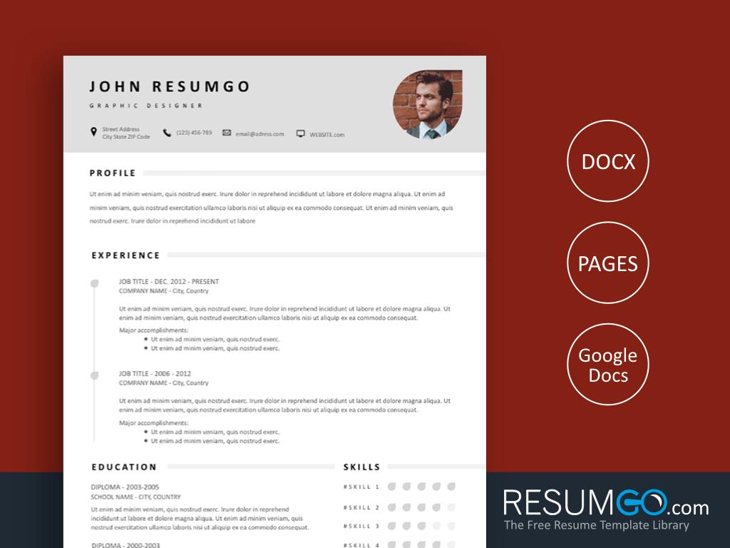 ZOPYROS - Free Gray Stylish Resume Template - ResumGO