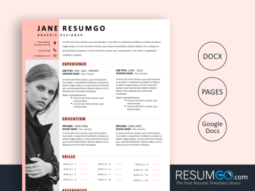 ZOSIME - Free Feminine And Modern Resume Template - ResumGO