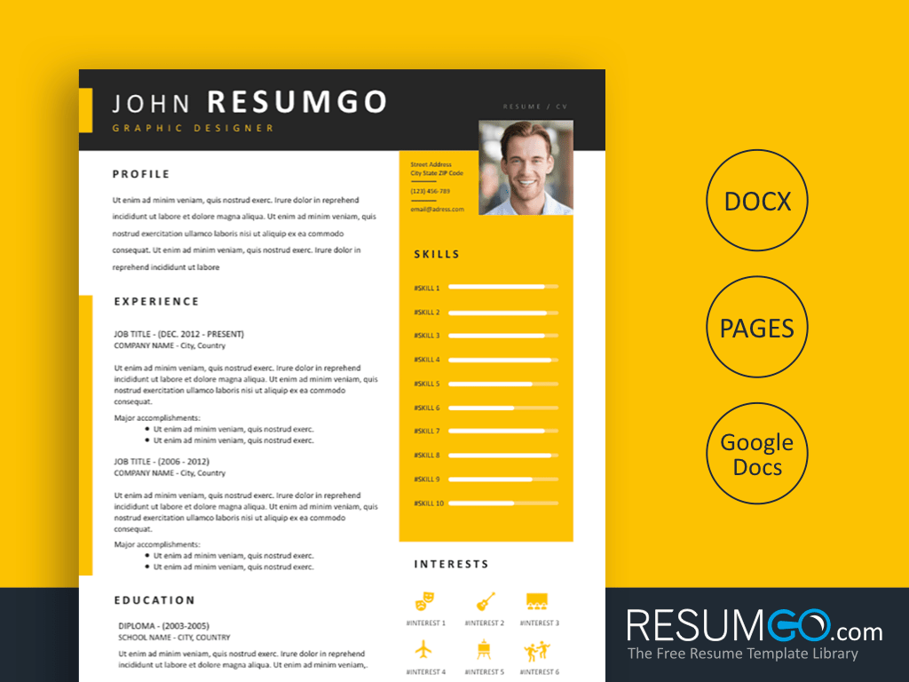 ZOTIKOS - Free Modern Yellow Resume Template with Black Elements - ResumGO