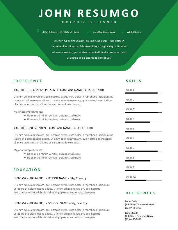 AGOT - Free Resume Template - ResumGO