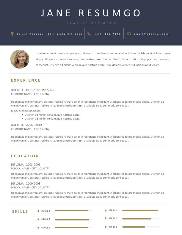 CHARITON - Free Resume Template - ResumGO