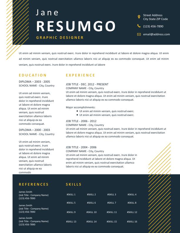 DORUS - Free Resume Template - ResumGO
