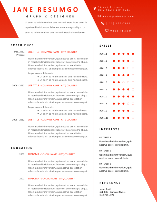 SARA - Free Resume Template - ResumGO