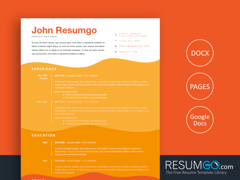 STELIOS - Free Wavy Orange Resume Template - ResumGO