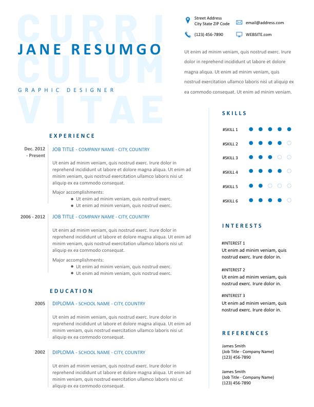 TRYPHAINA - Free Resume Template - ResumGO
