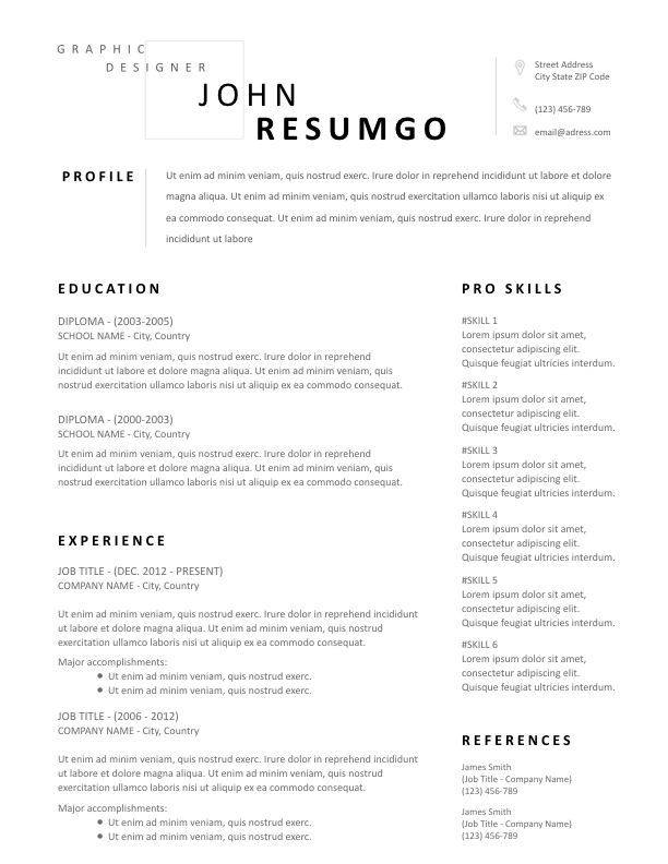 TYCHON - Free Resume Template - ResumGO
