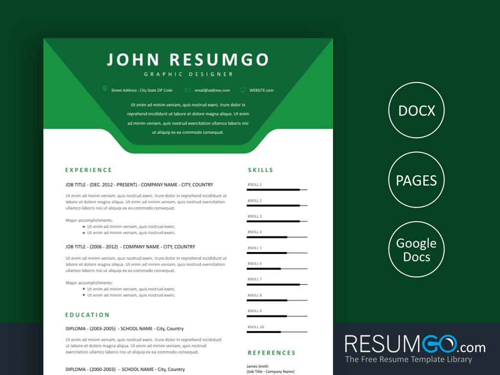 AGOT - Free Green Modern Resume Template - ResumGO