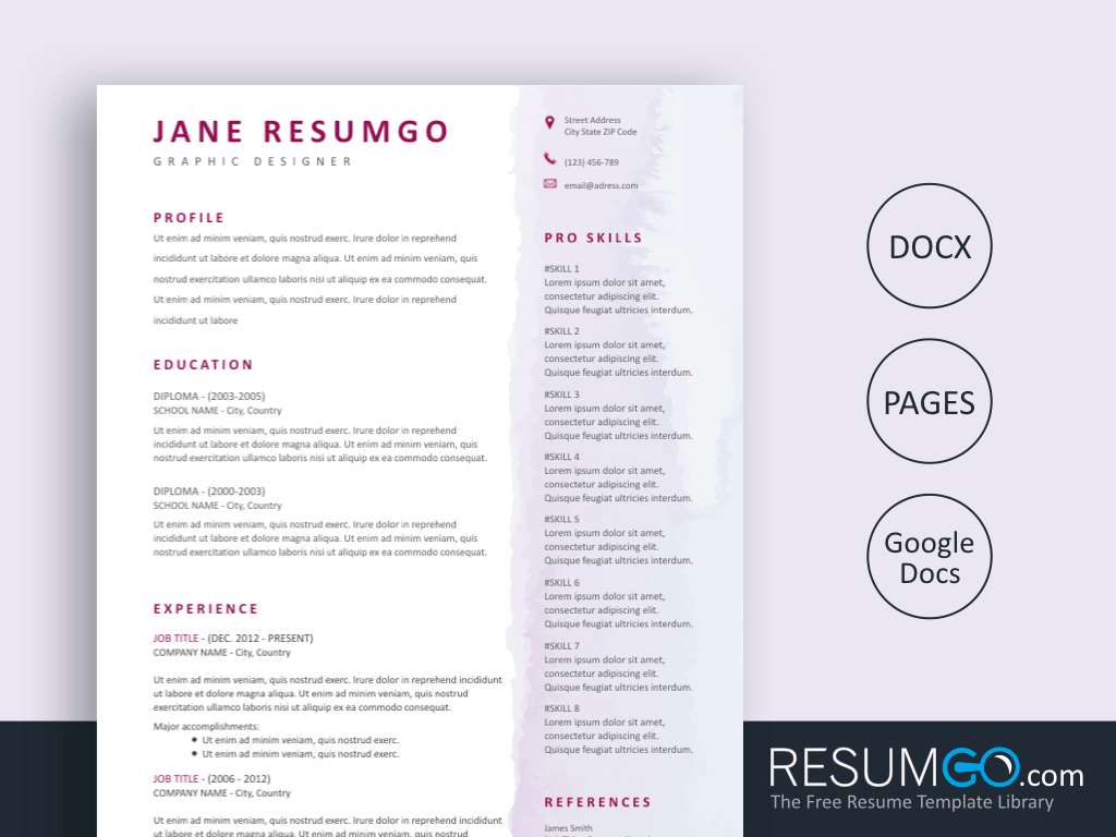 EUTERPE - Free Watercolor Resume Template - ResumGO