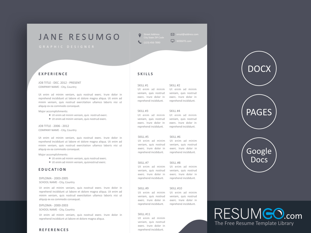 MELINA - Free Undulating Modern Gray Resume Template - ResumGO