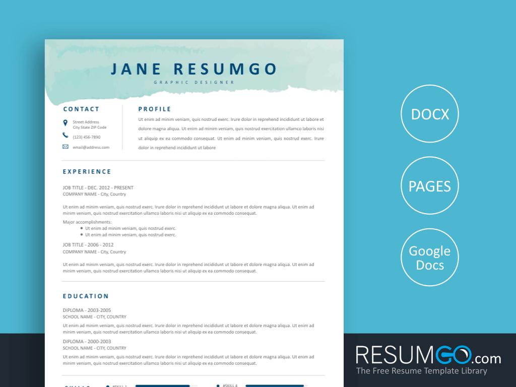 PHOTINE - Free Aqua Brush Resume Template - ResumGO