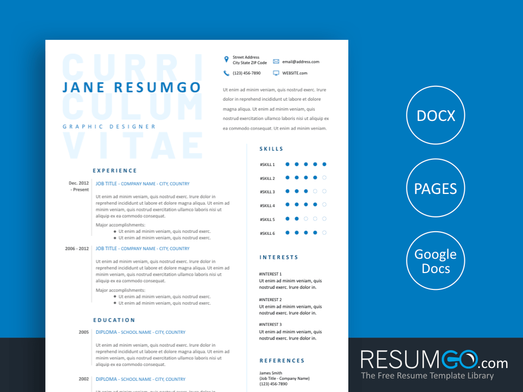 TRYPHAINA - Free Professional Blue Resume Template - ResumGO