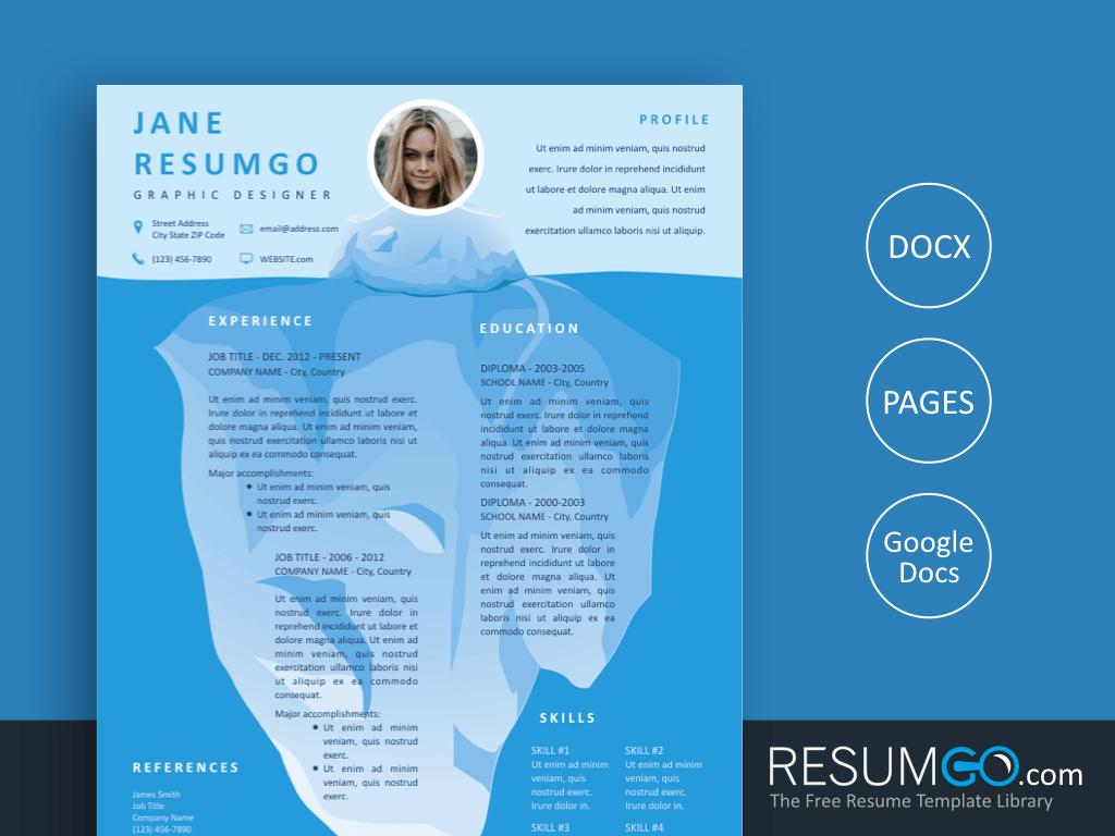 XENE - Free Iceberg Resume Template - ResumGO