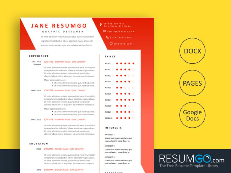 SARA - Free Red Modern Resume Template - ResumGO