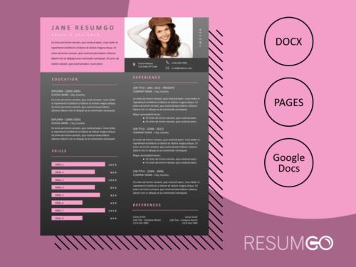 EUTHALIA - Free Pink and Gray Modern Resume Template - ResumGO