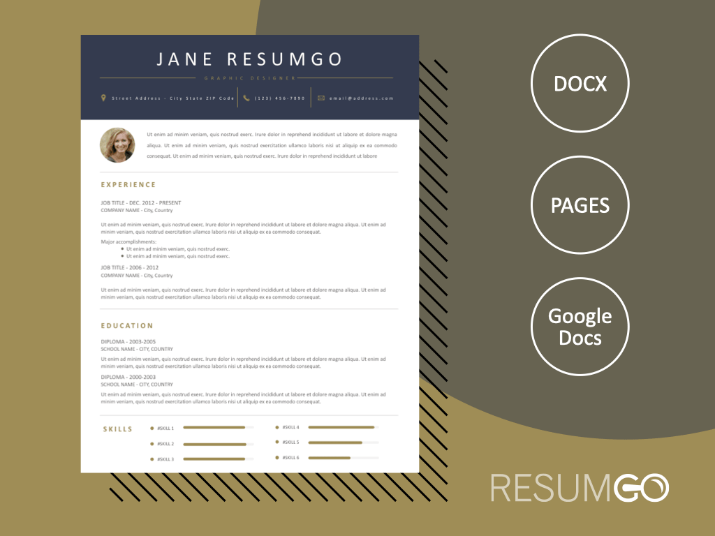 CHARITON - Free Blue and Gold Resume Template - ResumGO