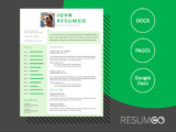 PERSIS - Free Green Vibes Resume Template - ResumGO