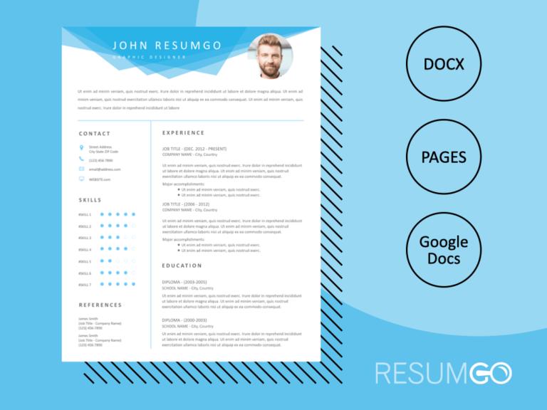 ELISSA - Free Blue Geometric Header Resume Template - ResumGO