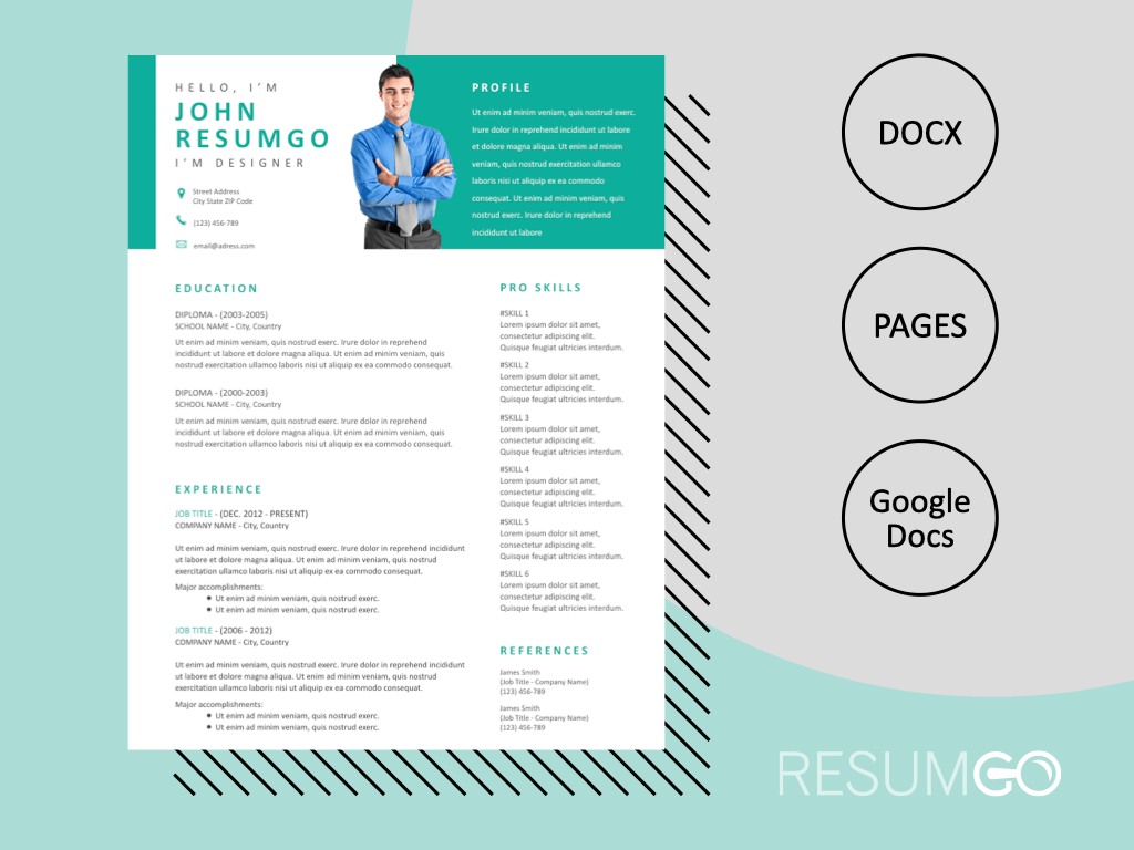 THAIS - Free Modern Resume Template with Header - ResumGO