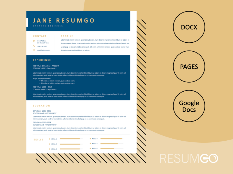 THEKLA - Free Alternate Blue White Resume Template - ResumGO