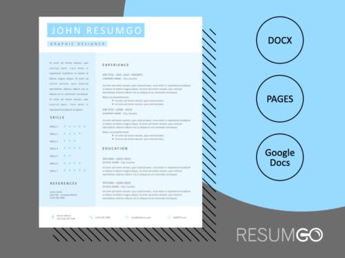 WIXO - Free Elegant Blue Resume Template - ResumGO