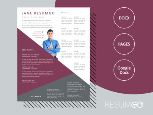 GREGORIOS - Free Transversal Creative Resume Template - ResumGO