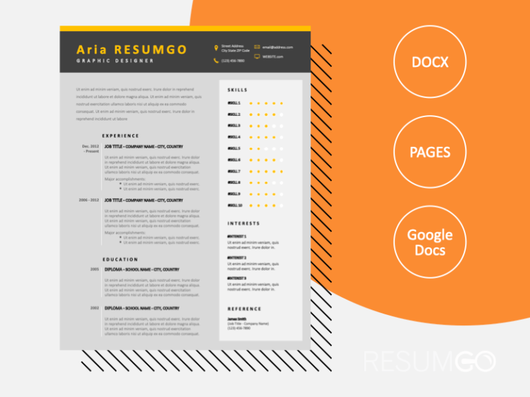 MAIA - Free Professional Resume Template with a black header - ResumGO