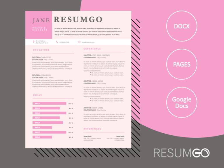ALENA - Free Pink Professional Resume Template - ResumGO