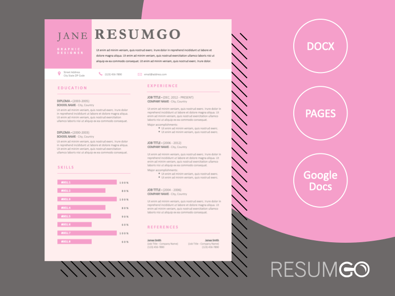 ALENA - Free Pink Professional Resume Template - ResumGO