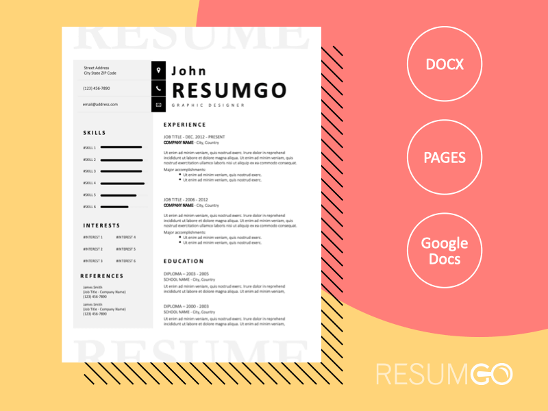 CHARON - Free Elegant Black and White Resume Template - ResumGO