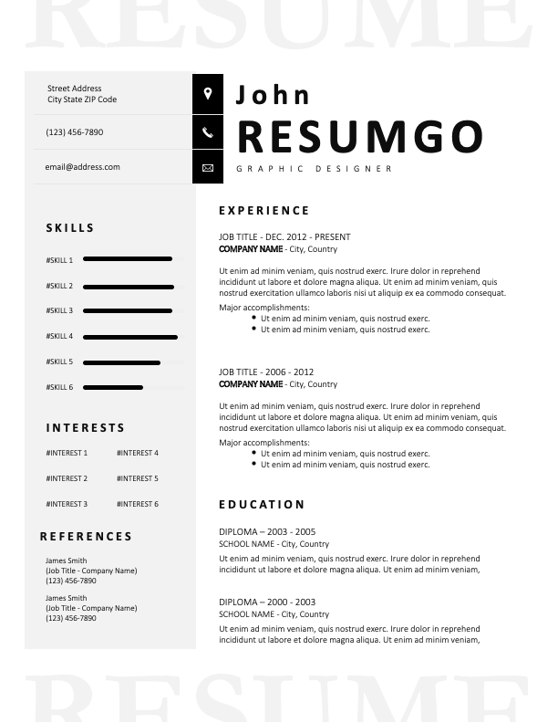 CHARON - Elegant Black and White Resume Template