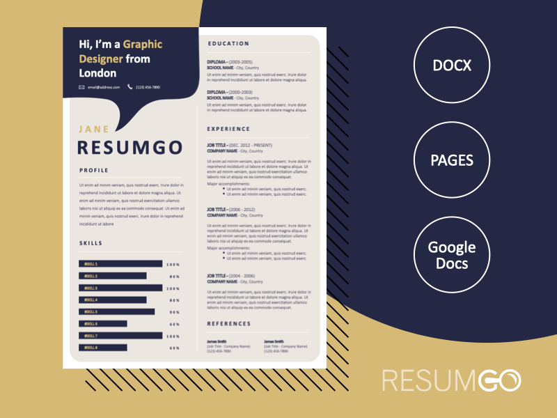 HELI - Free Creative Resume Template with Speech Bubble - ResumGO