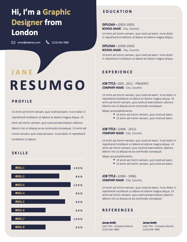 HELI - Free Resume Template - ResumGO