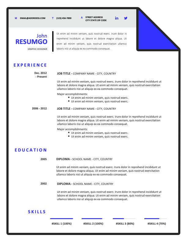 HERMES - Free Modern Resume Template with blue corner